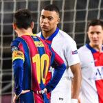 Kylian Mbappé a eu des mots avec des joueurs du Barça. Photo Icon Sport.