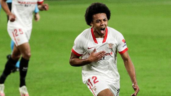 Jules Koundé laisse exploser sa joie après son but magnifique contre le Barça (2-0), mercredi 10 février. Photo Icon Sport