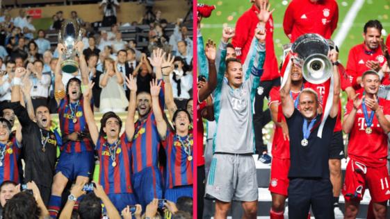 Le Barça de 2009 versus le Bayern de 2020. Photos Icon Sport