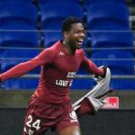 Aaron Leya Iseka, l'attaquant du FC Metz, participe à la magnifique saison du club grenat. Photo Icon Sport
