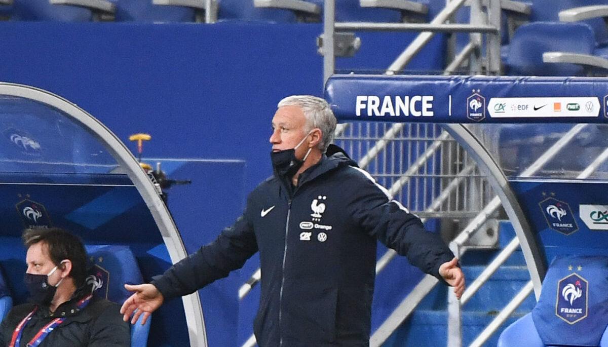 Didier Deschamps est apparu démuni contre l'Ukraine (1-1), mercredi 24 mars. Icon Sport