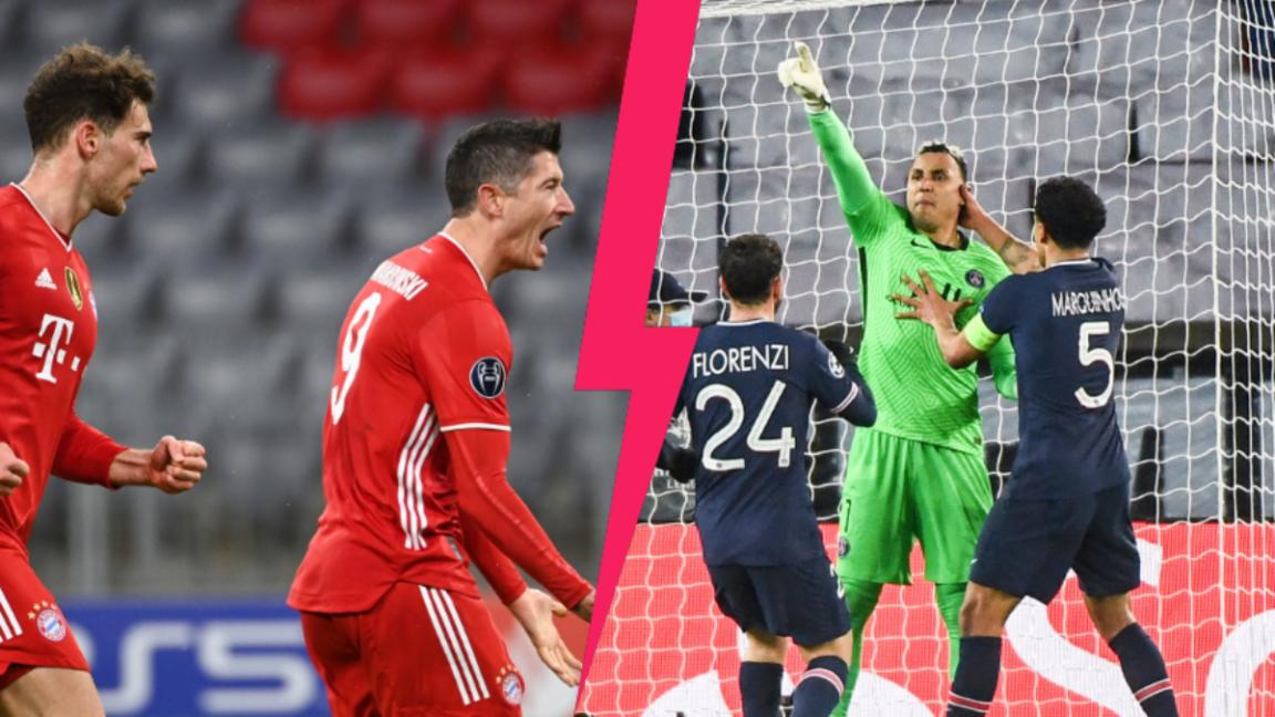 Le Bayern de Leon Goretzka et Robert Lewandowski face au PSG de Keylor Navas, Alessandro Florenzi et Marquinhos. Photos Icon Sport
