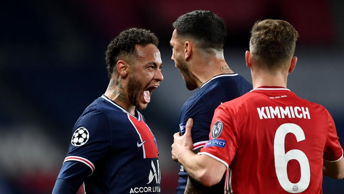 Neymar et Leandro Paredes face à Joshua Kimmich en Ligue des champions. Icon Sport