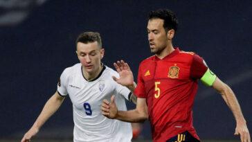 Sergio Busquets avec l'Espagne contre le Kosovo, mercredi 31 mars. Icon Sport