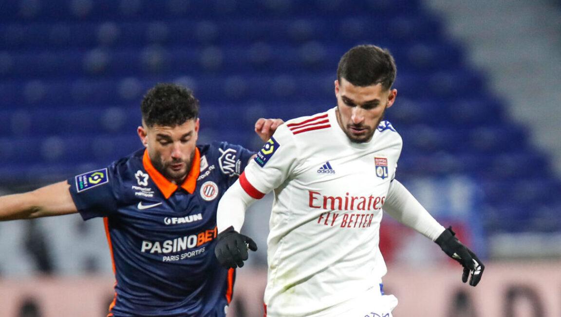 Le Lyonnais Houssem Aouar et le Montpelliérain Jordan Ferri. Icon Sport