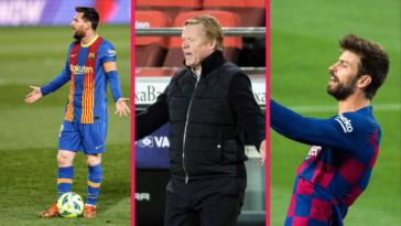 Lionel Messi, Ronald Koeman et Gerard Piqué ont pesté contre l'arbitrage lors du Clasico contre le Real Madrid (1-2), samedi 10 avril. Icon Sport
