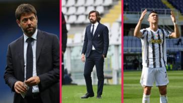 Le président Andrea Agnelli, l'entraîneur Andrea Pirlo et la star de l'équipe Cristiano Ronaldo pourraient tous trois faire leurs valises pour quitter la Juventus cet été. Icon Sport