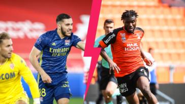 Rayan Cherki côté OL et Terem Moffi (Lorient) mèneront l'attaque de leurs clubs, qui se rencontrent ce samedi 8 mai. Icon Sport