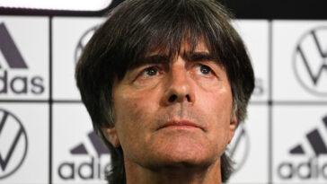 """Joachim Löw était """"extrêmement déçu"""" après l'élimination de l'Allemagne contre l'Angleterre, mais estime que des lendemains qui chantent attendent la Nationalmannschaft. Icon Sport"""