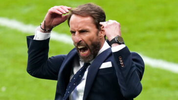 Gareth Southgate, le sélectionneur de l'Angleterre, et sa rage de vaincre lors du huitième de finale de l'Angleterre contre l'Allemagne. Icon SPort