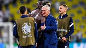 Didier Deschamps a loué la solidité de son équipe de France face à l'Allemagne (1-0), mardi 15 juin. Icon Sport