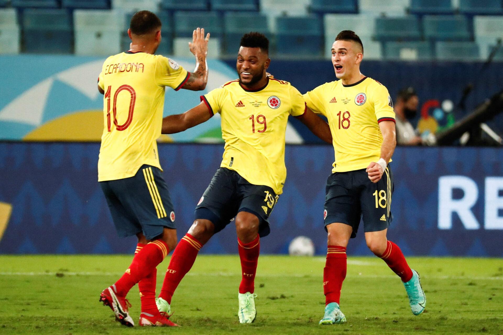 La joie d'Edwin Cardona, selul buteur du match lros de Colombie-Equateur - Icon Sport