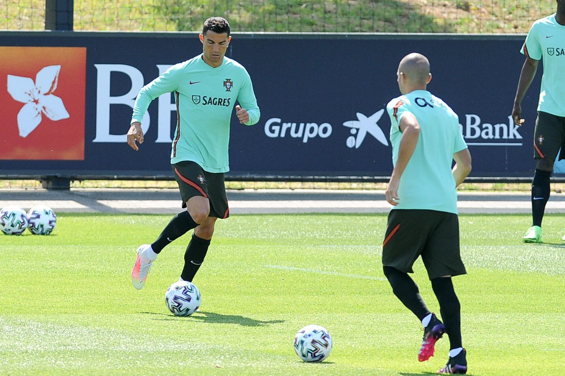 Cristiano Ronaldo à l'entraînement avec son collègue Pepe (iconsport)
