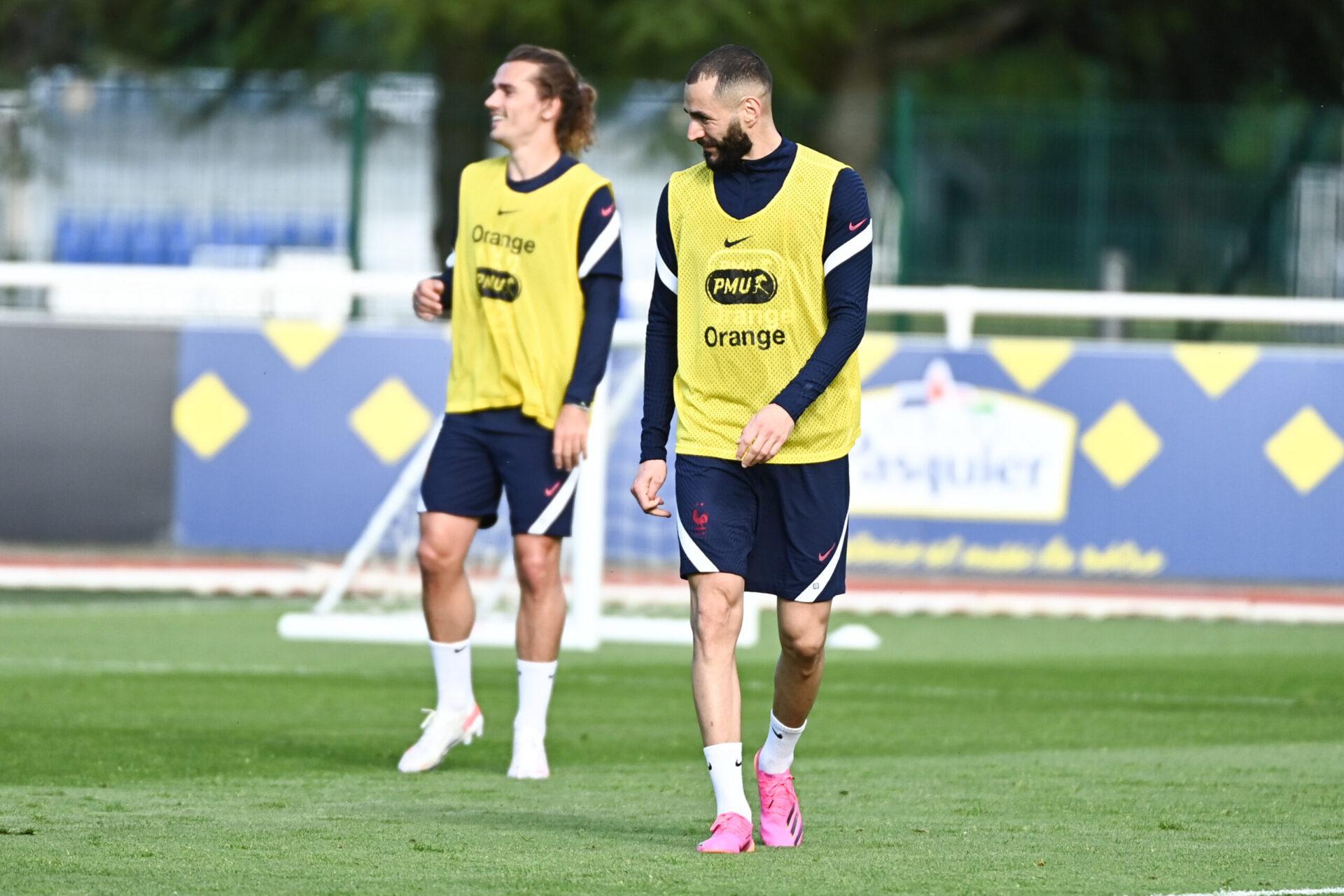 Antoine Griezmann et Karim Benzema lors d'une séance d'entrainement (iconsport)