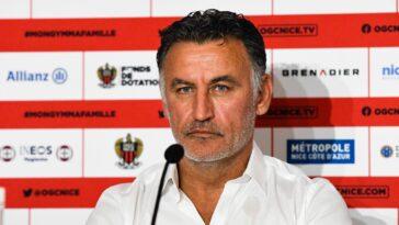 Christoph Galtier a tenu une conférence de presse de présentation à Nice, où il a expliqué le choix de rejoindre les Aiglons. Icon Sport