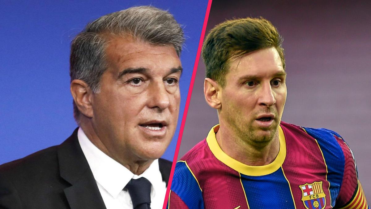 """Joan Laporta a déclaré vouloir que Lionel Messi reste """"encore deux ans"""" au Barça. Icon Sport"""