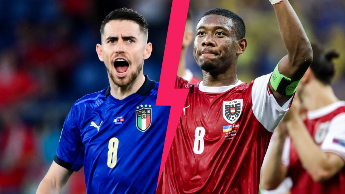 L'Italie de Jorginho et l'Autriche de David Alaba s'affrontent ce samedi 26 juin à 21h en huitième de finale de l'Euro 2020. Icon Sport