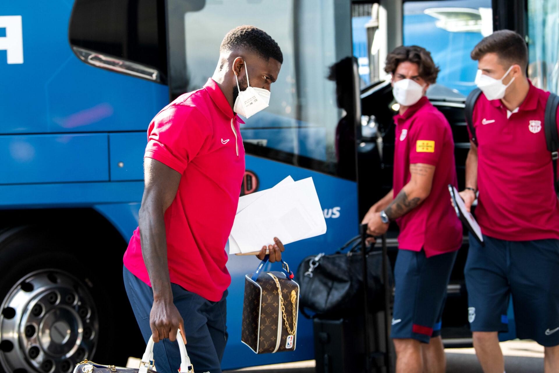 Samuel Umtiti lors de son arrivée au camp d'entraînement d'Oschbergohf (Iconsport).
