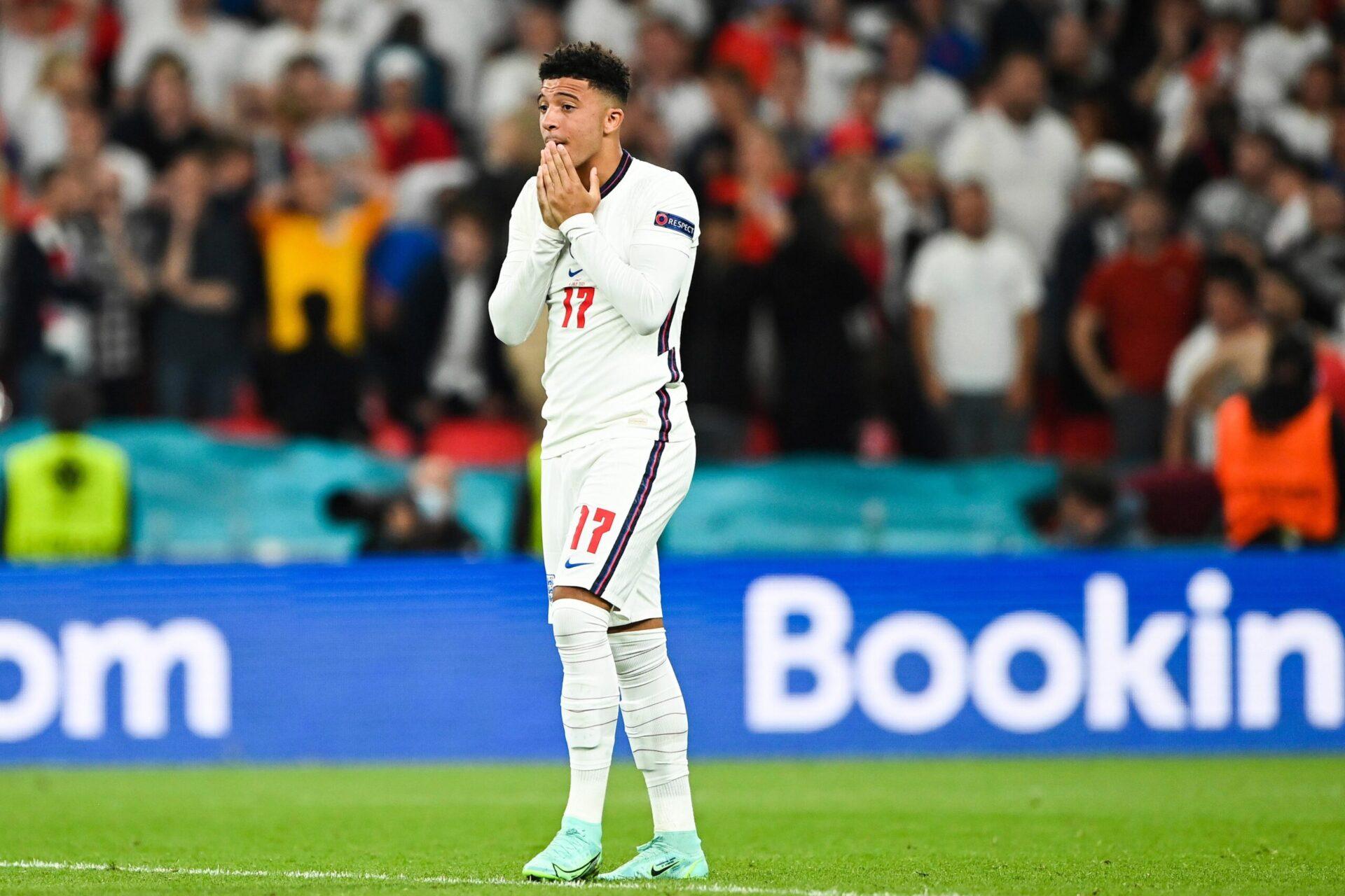 Jadon Sancho après son penalty manqué lors de la finale de l'Euro 2020 face à l'Italie (iconsport)