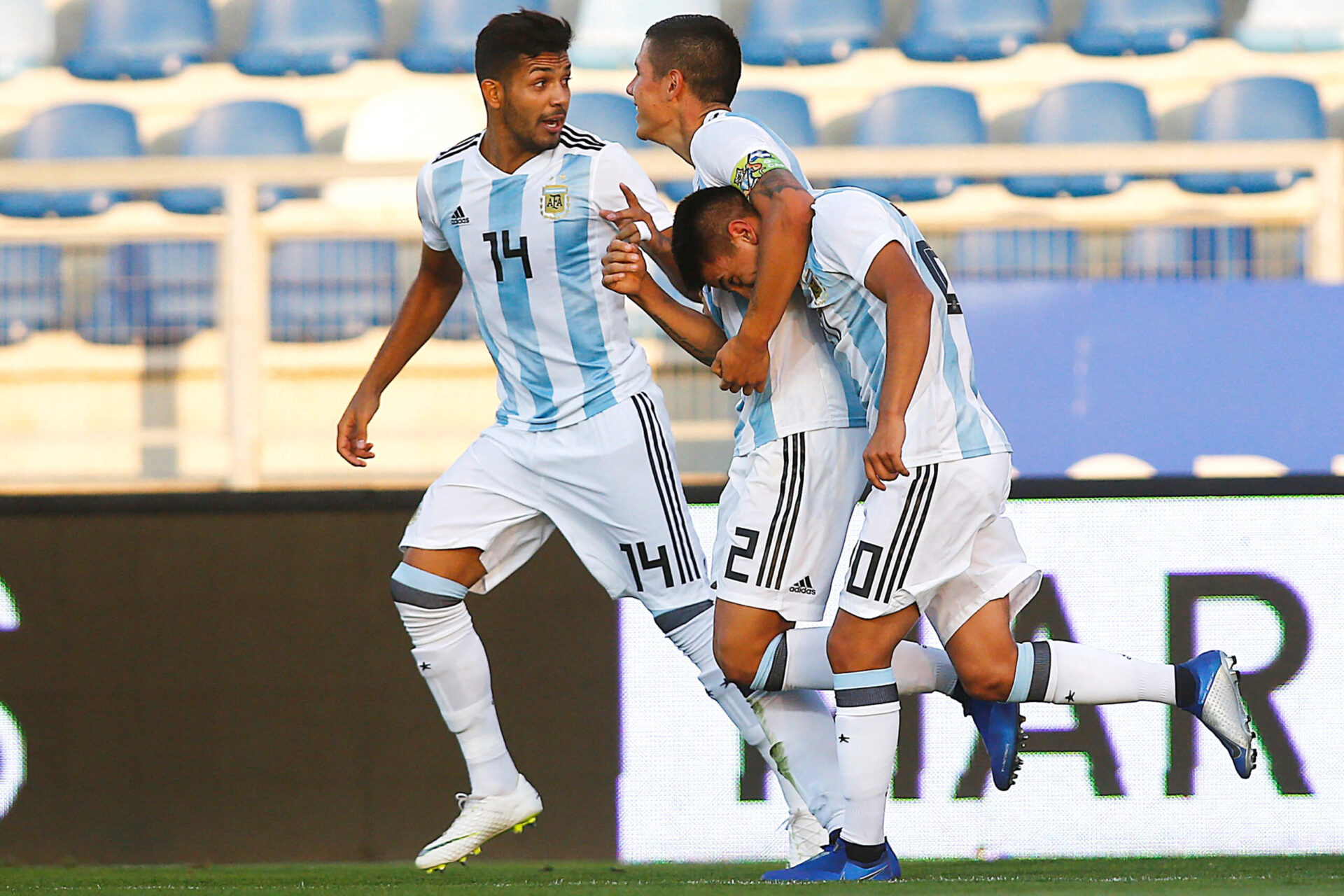 Thiago Almada, international U20 avec l'équipe d'Argentine, célèbre un but avec l'Albiceleste. Icon Sport