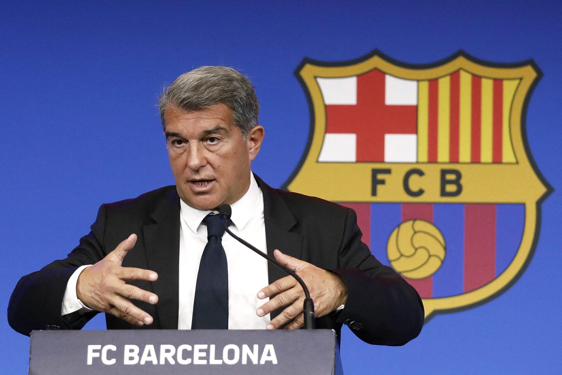 Joan Laporta, président du FC Barcelone, a ouvert la porte à un départ d'Antoine Griezmann lors de la présentation officielle de Memphis Depay (iconsport)