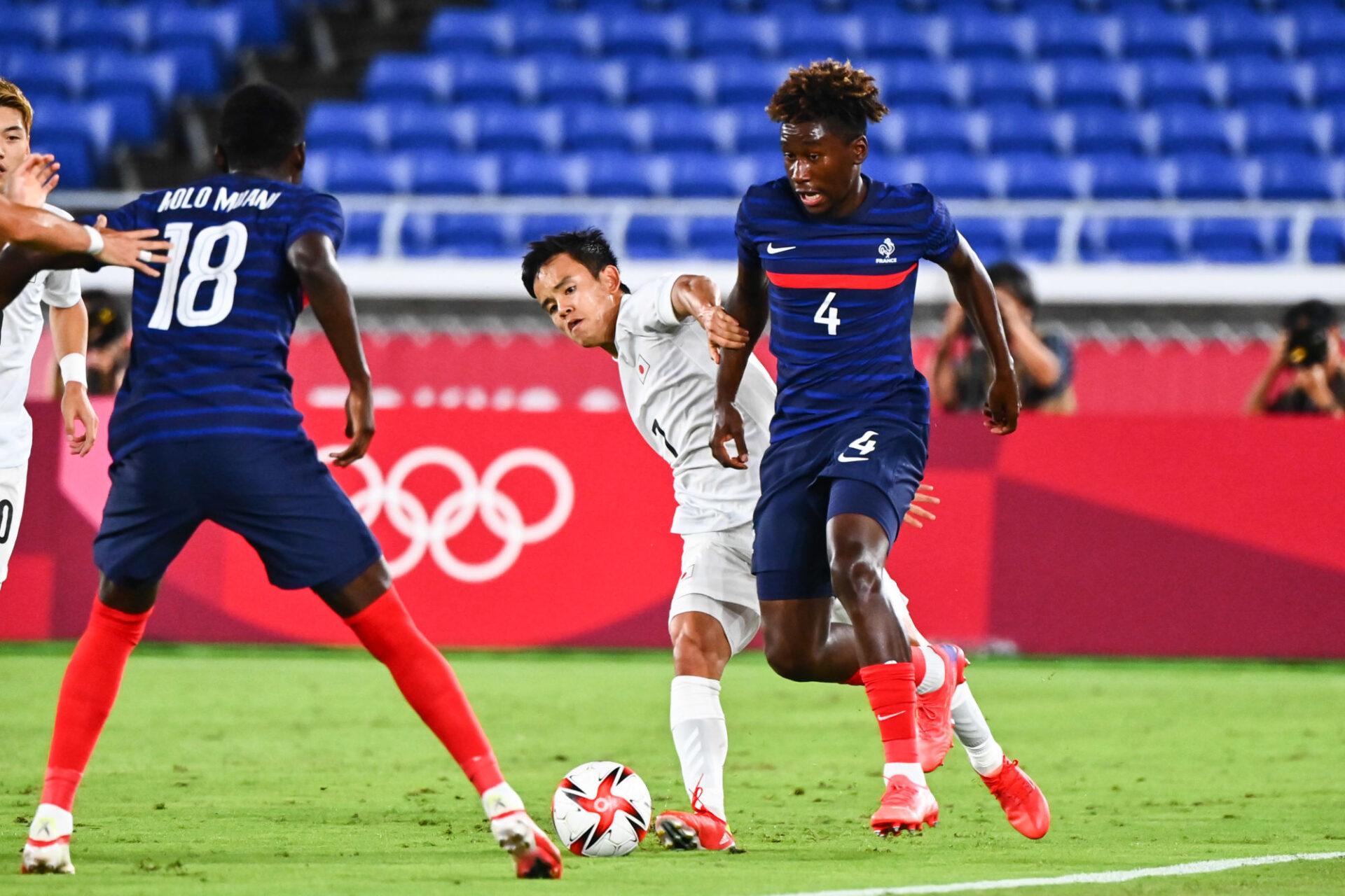Timothée Pembélé, le défenseur du PSG, et les Bleus s'étaient montrés relativement solides lors de la première demi-heure contre le Japon. Icon Sport