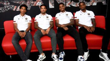 Nice a présenté Calvin Stengs, Justin Kluivert, Mario Lemina et Pablo Rosario (de gauche à droite), ses nouvelles recrues. Icon Sport