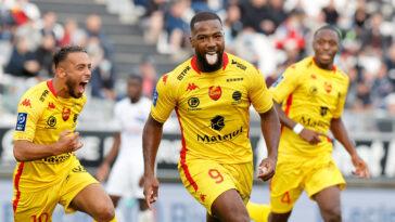 Duckens Nazon, auteur d'un triplé pour son premier match avec Quevilly-Rouen Métropole. Victoire 3-1 à Amiens (IconSport)