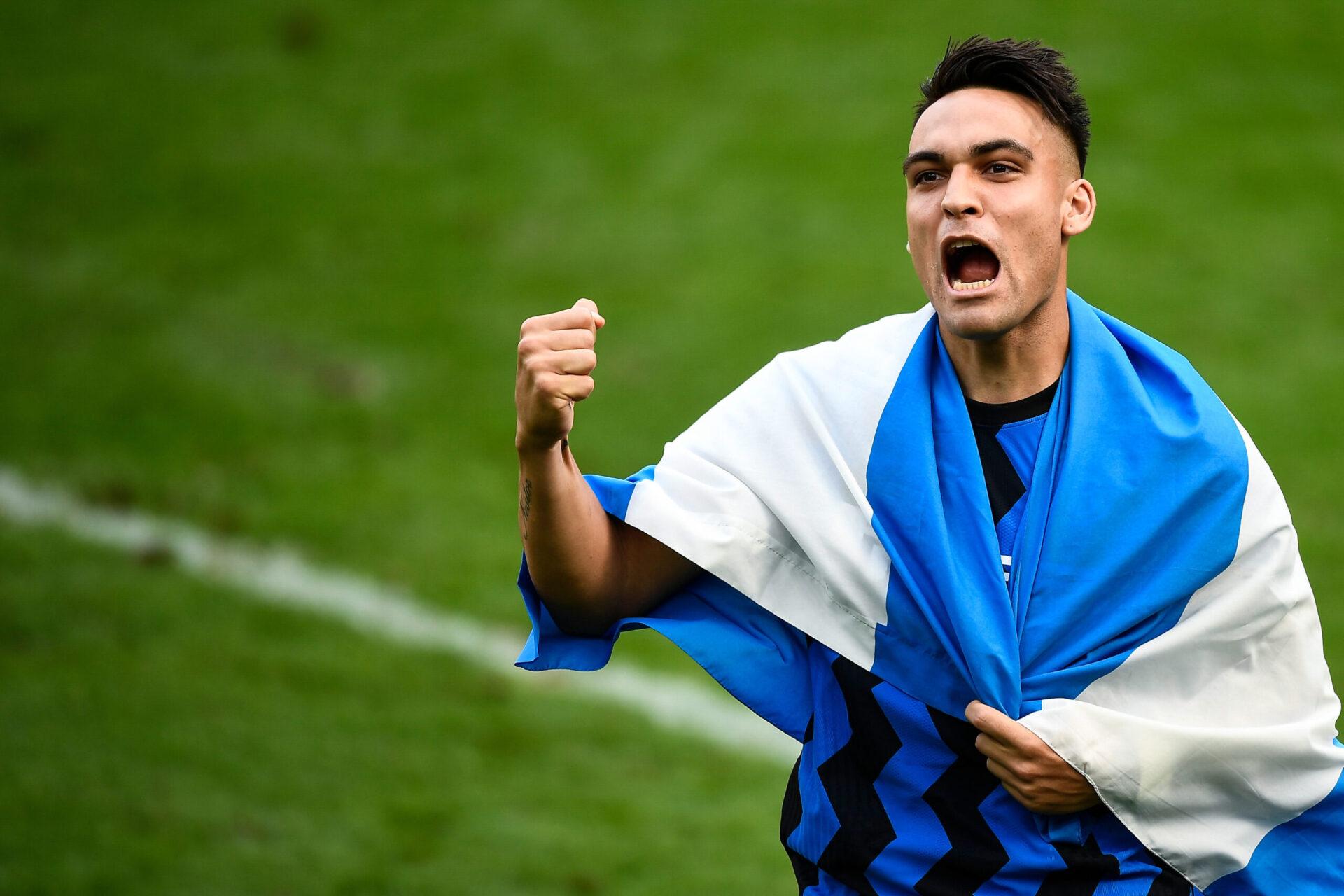 Lautaro Martínez célébrant sa victoire en Série A avec l'Inter Milan (Icon Sport)