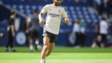Riyad Mahrez portant le maillot de Manchester City (Icon Sport)
