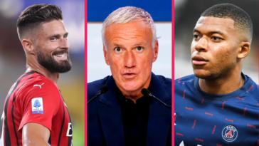 Didier Deschamps n'a pas pu éviter les questions autour de Kylian Mbappé et Olivier Giroud. Icon Sport