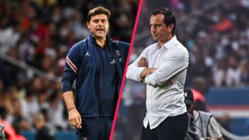 Mauricio Pochettino et Julien Stéphan ont réagi à la victoire du PSG contre Strasbourg (4-2), samedi 14 août. Icon Sport