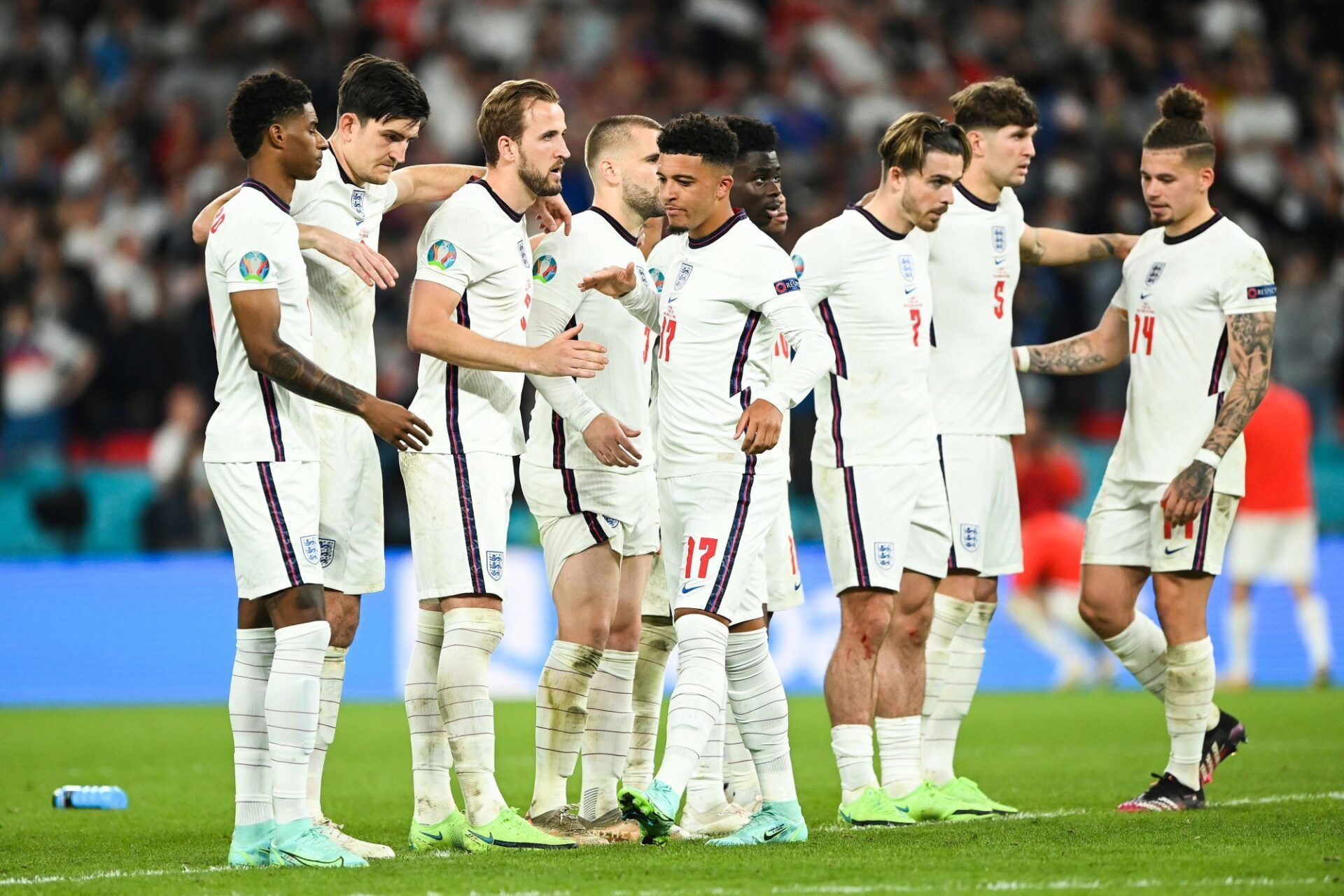 Gareth Southgate a rappelé l'immense majorité de sa sélection finaliste de l'Euro 2020, à l'exception d'un Marcus Rashford (à gauche) toujours blessé. Icon Sport