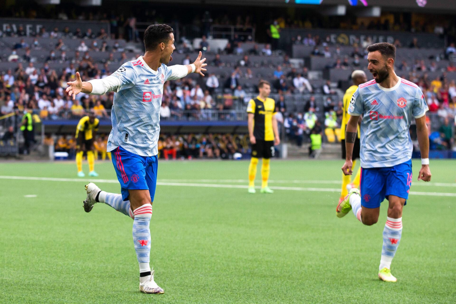 Cristiano Ronaldo célèbre son but face aux Young Boys de Berne en Ligue des champions. Icon Sport
