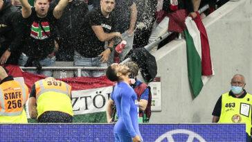 Raheem Sterling a été l'un des joueurs anglais victimes de cris racistes contre la Hongrie, jeudi 2 septembre. Icon Sport