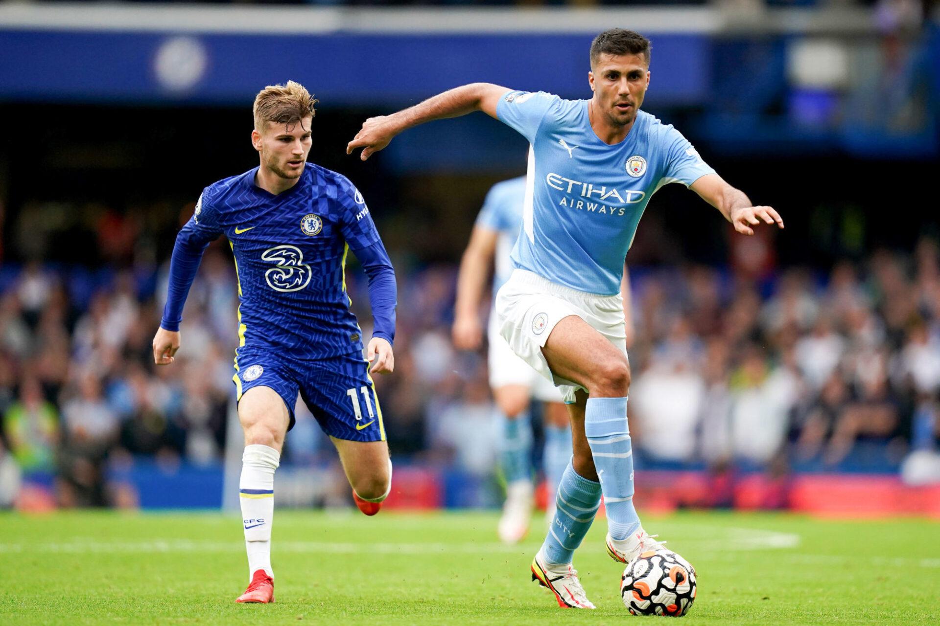 Le Manchester City de Rodri a fait courir le Chelsea de Timo Werner après le ballon pendant toute la première période. Icon Sport