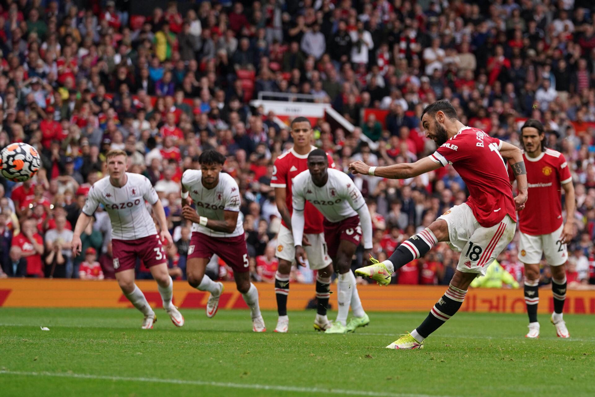 Alors que Manchester United était mené, Bruno Fernandes a manqué un penalty dans le temps additionnel face à Aston Villa (iconsport)