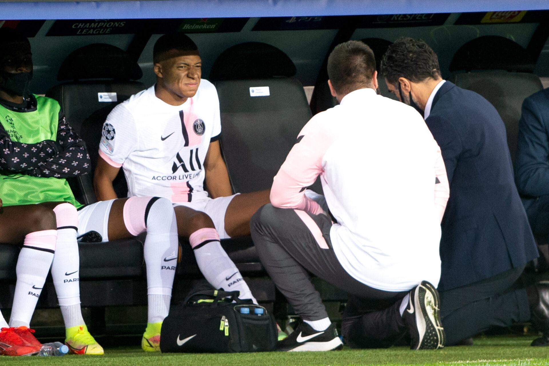 Kylian Mbappé, blessé à la cheville gauche lors de la rencontre face à Bruges (IconSport)