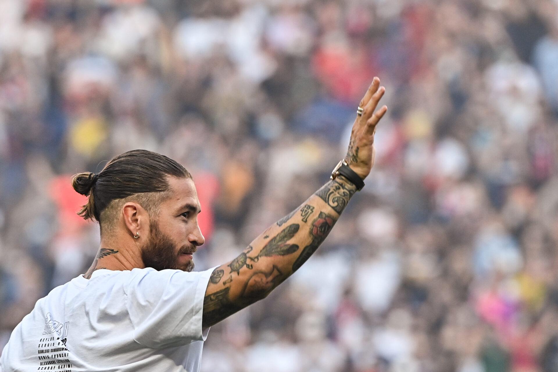 Sergio Ramos lors de sa présentation au Parc des Princes, le 14 août 2021 (IconSport)