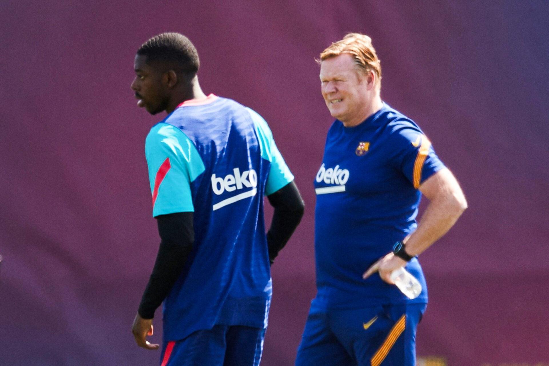 Ronald Koeman et Ousmane Dembélé lors d'un entraînement du FC Barcelone (IconSport)