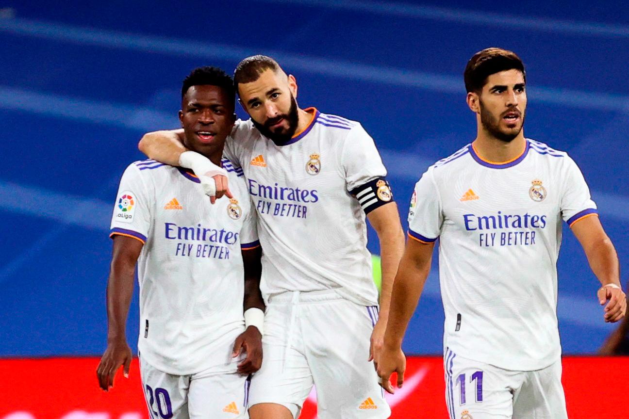 Karim Benzema, Vinicius Jr et Marco Asensio lors de la victoire du Real Madrid face à Majorque hier soir (6-1) (IconSport)