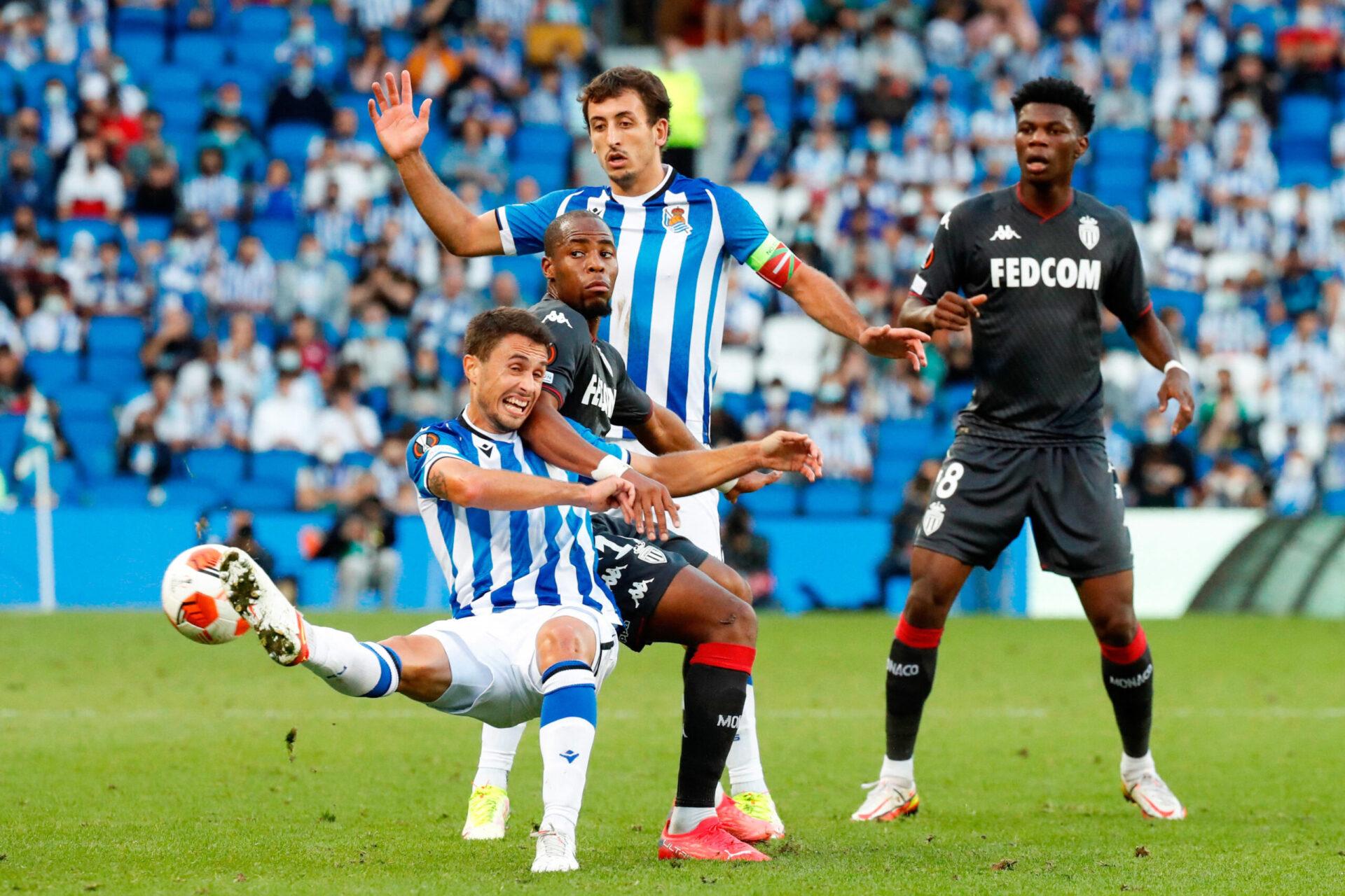 Face à la défense de Monaco, Portu et Oyarzabal ont plusieurs fois cherché à combiner, en vain (iconsport)