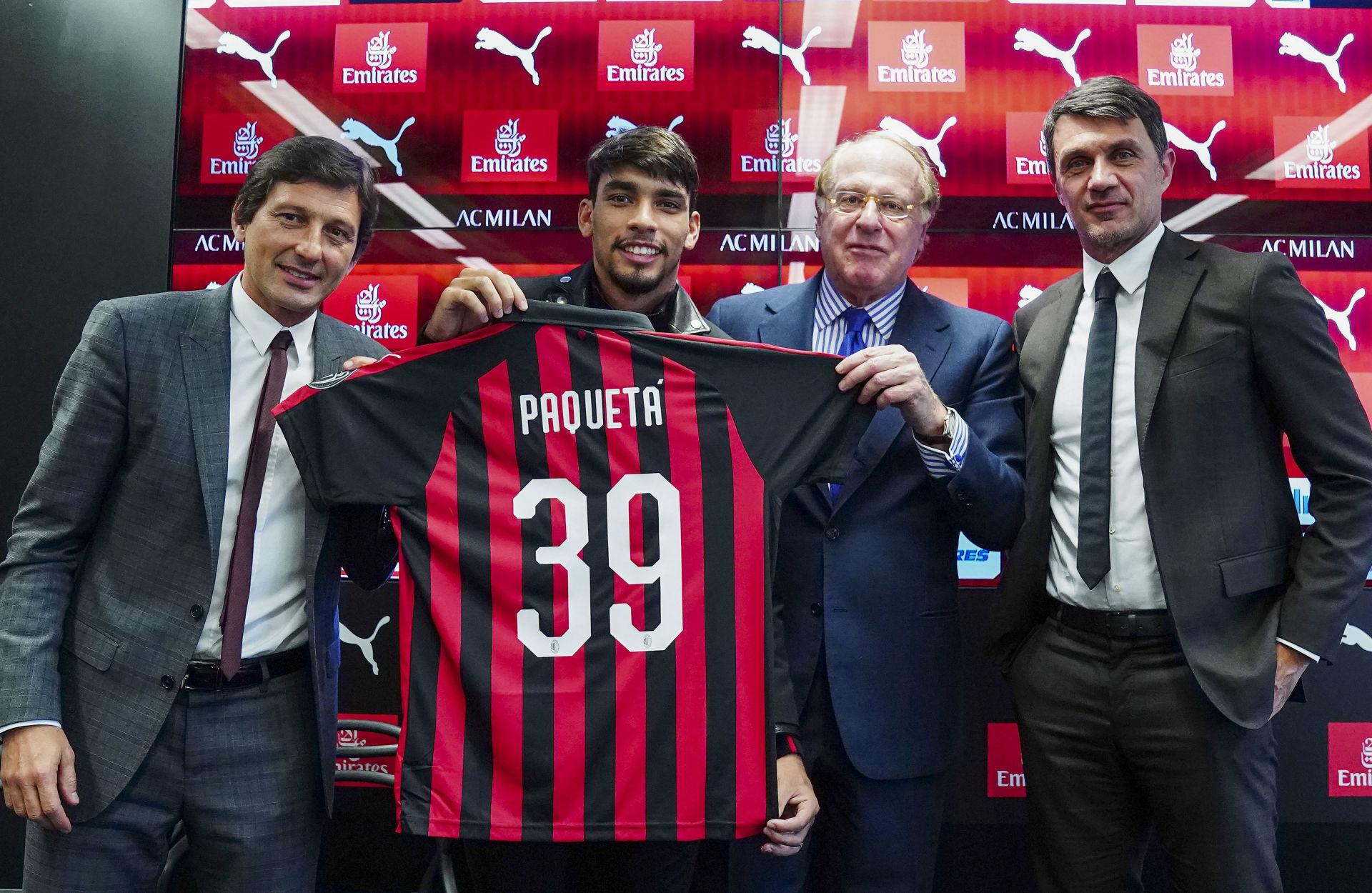 C'est Leonardo (à gauche), alors directeur sportif de l'AC Milan, qui a fait venir Lucas Paqueta en janvier 2019. Icon Sport