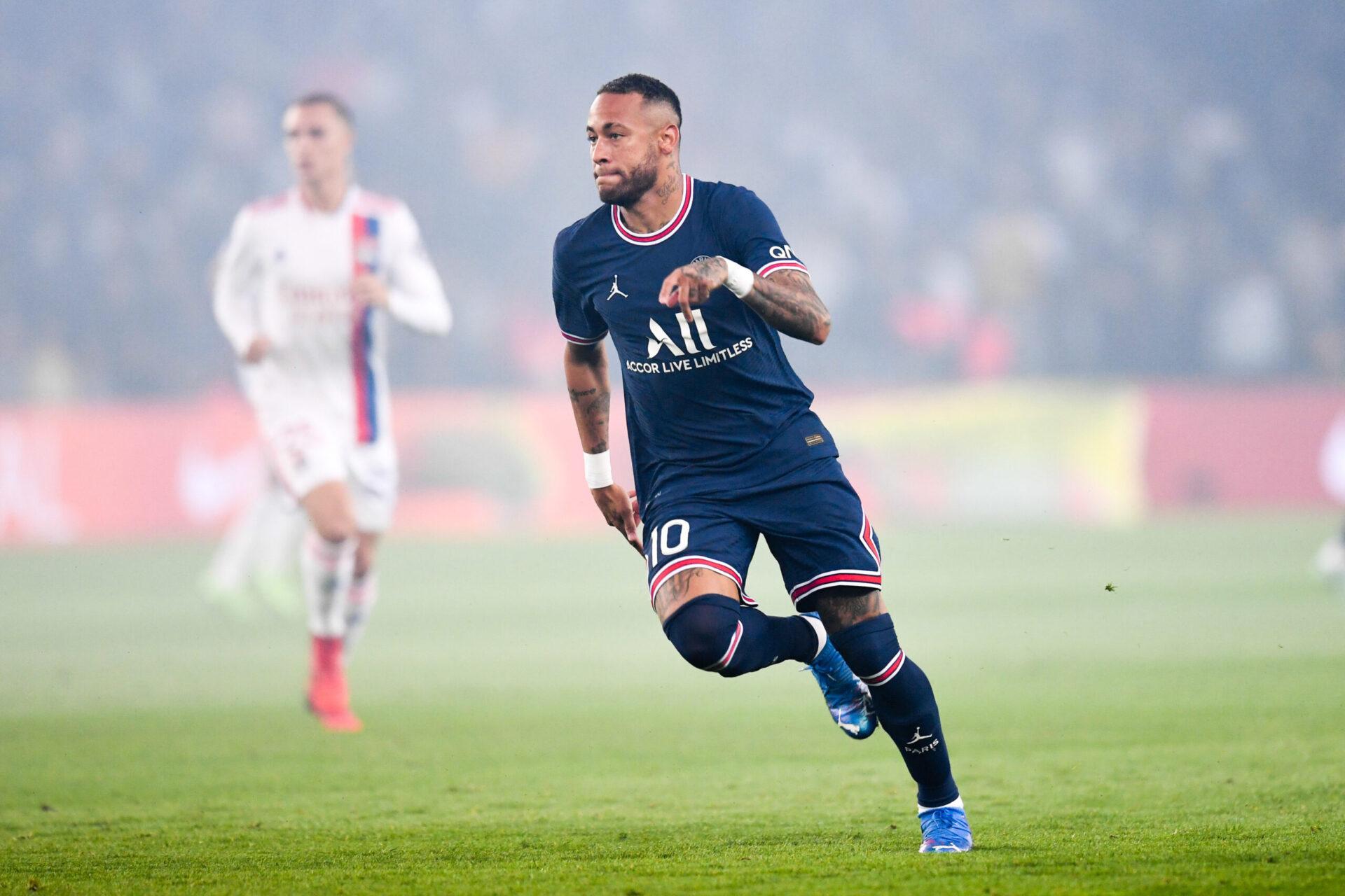 Neymar lors du match comptant pour la sixième journée de Ligue 1 Paris Saint-Germain - Olympique Lyonnais (IconSport)
