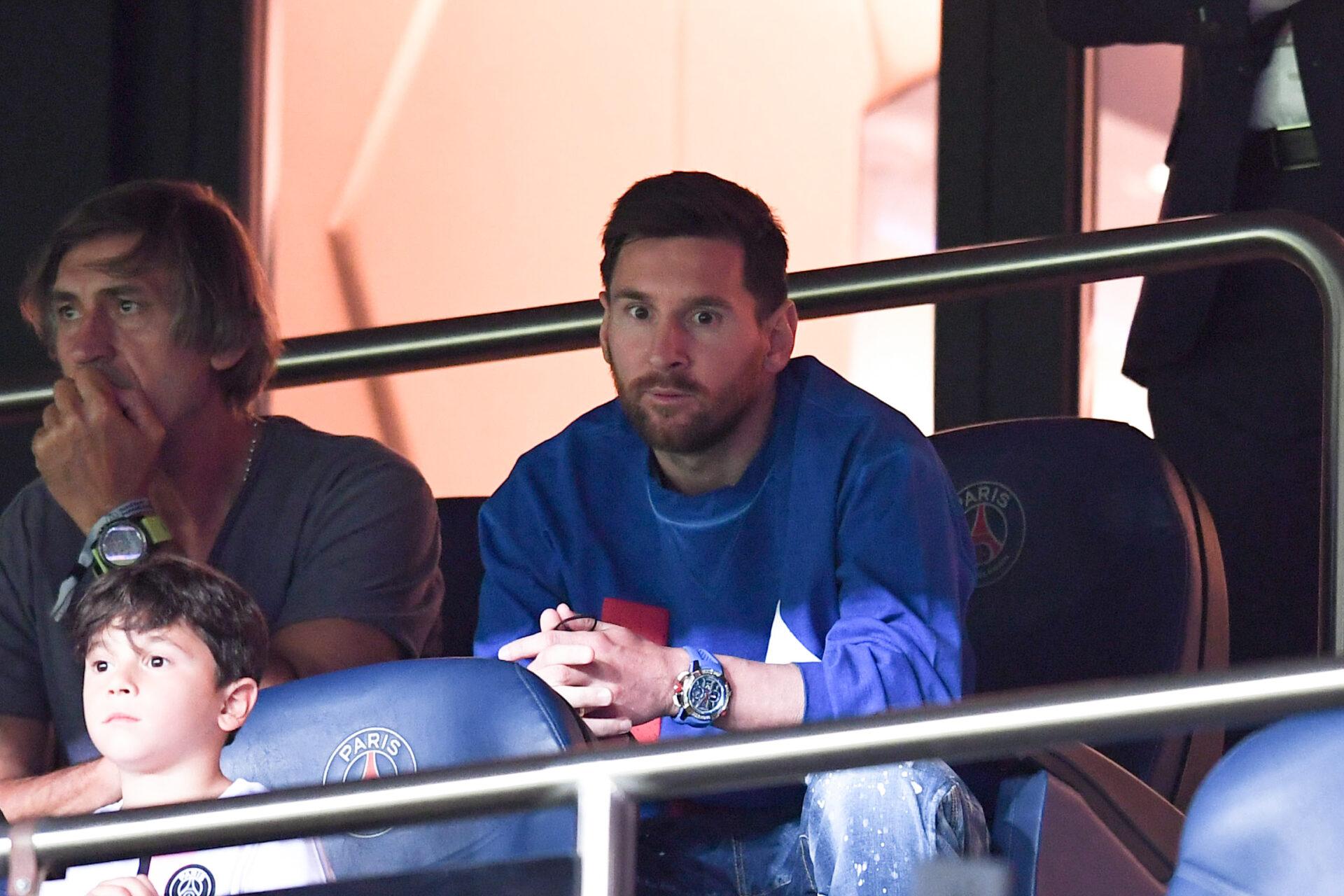 Lionel Messi, au Parc des Princes lors de la rencontre entre le PSG et Montpellier. Icon Sport