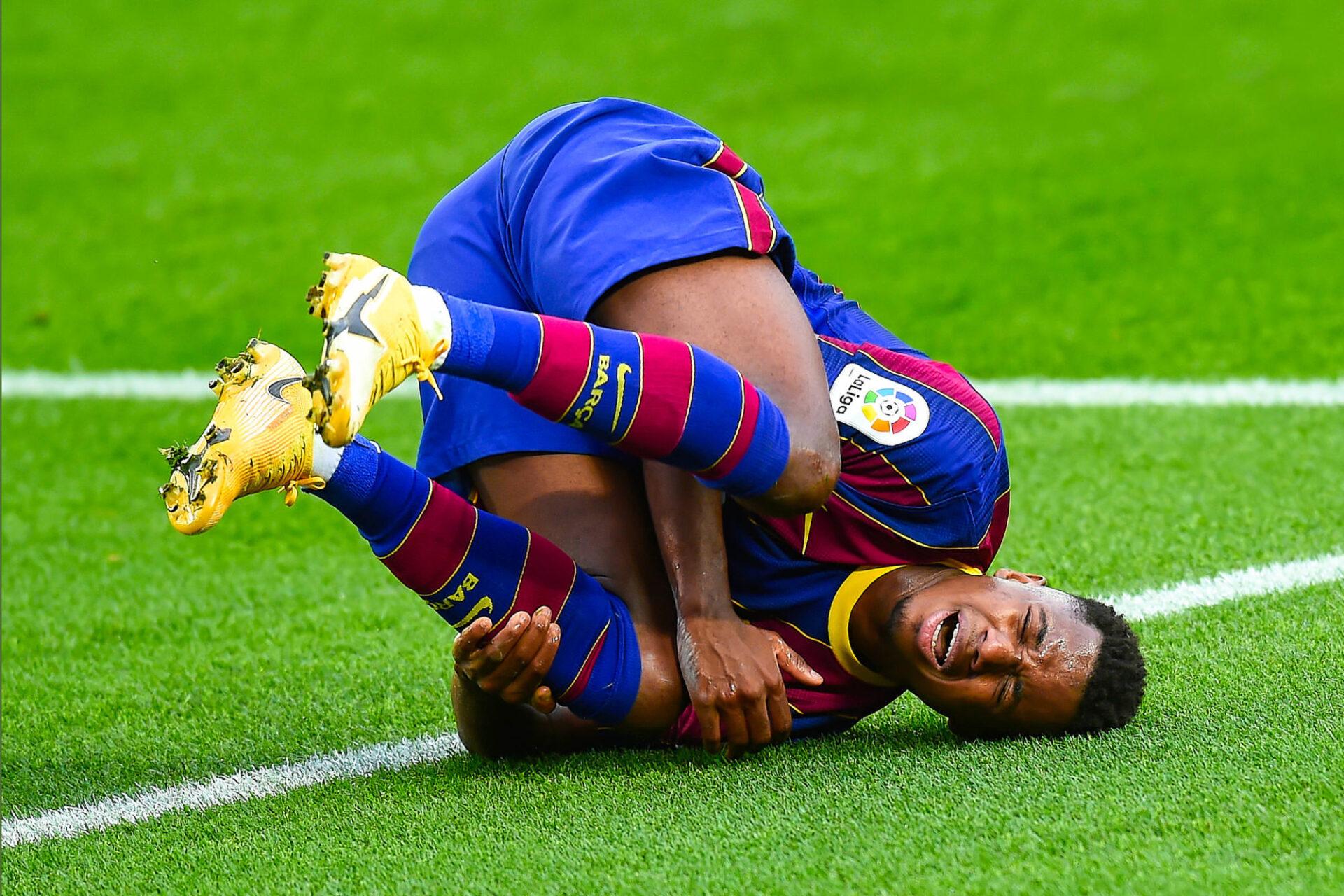 Ansu Fati s'était gravement blessé en novembre 2020 lors d'un match de Liga contre le Betis Séville avec le Barça. Icon Sport