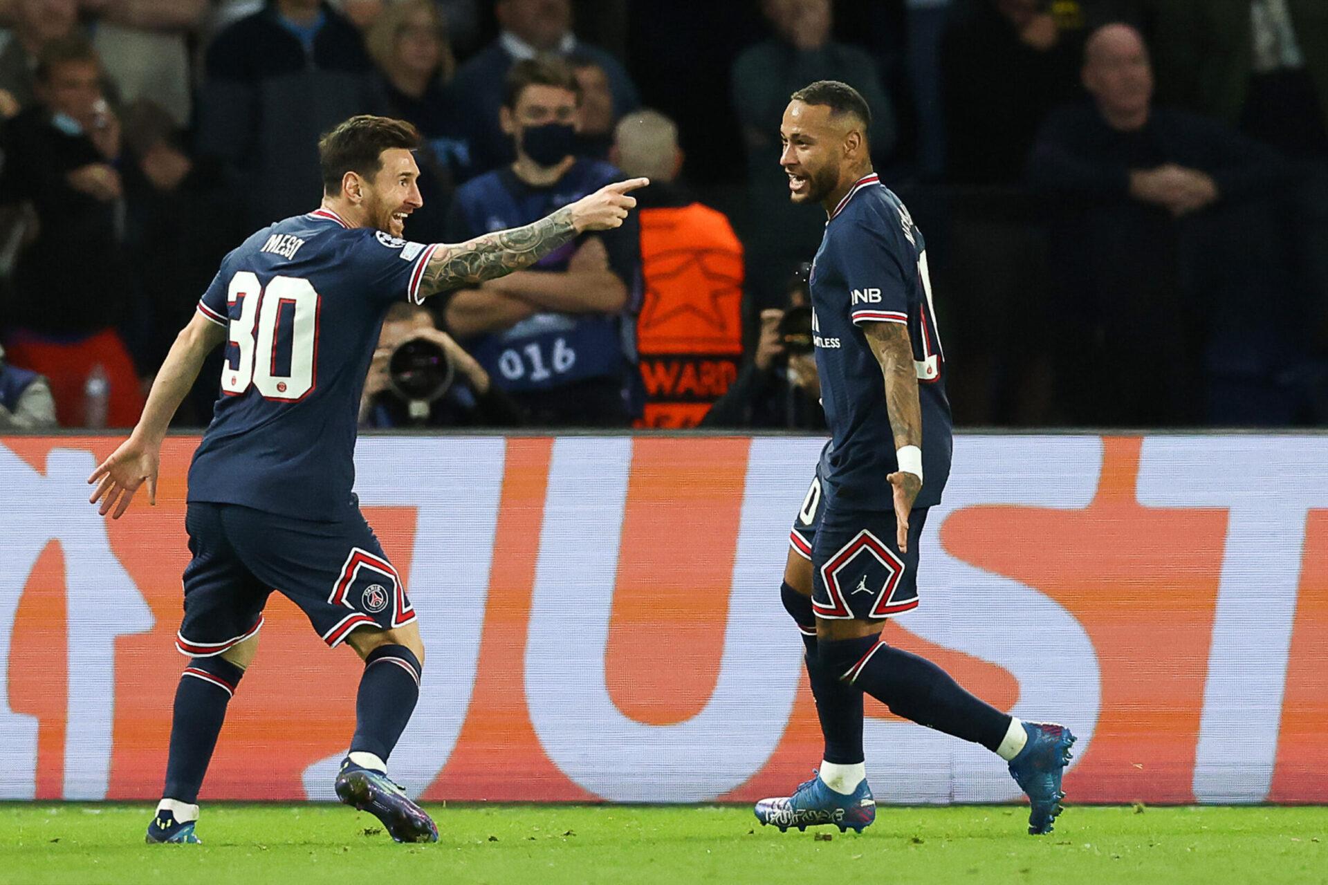 Lionel Messi fête son premier but avec le Paris Saint-Germain, contre Manchester City. Icon Sport
