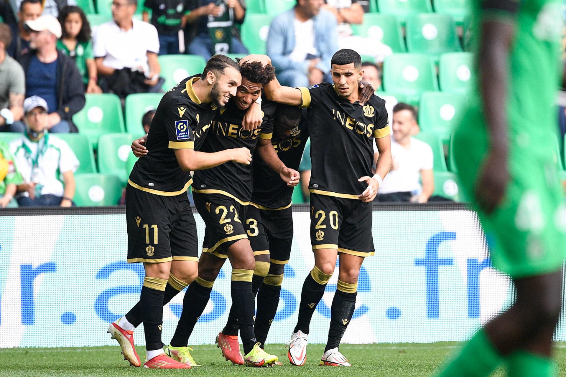 Amine Gouiri et Calvin Stengs (à gauche) ont été les deux premiers buteurs de Nice contre Saint-Etienne. Icon Sport