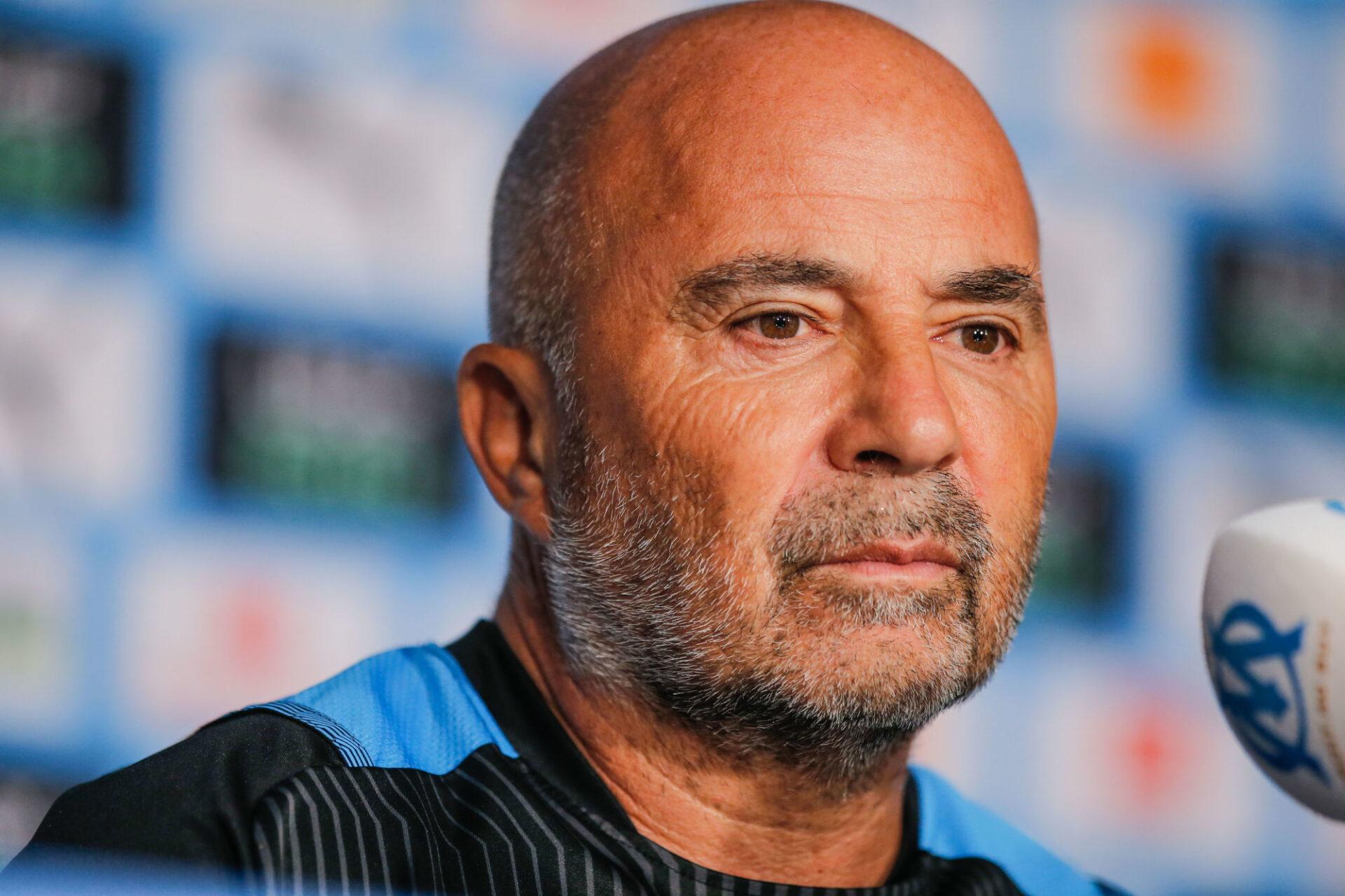 Jorge Sampaoli en conférence de presse. Icon Sport