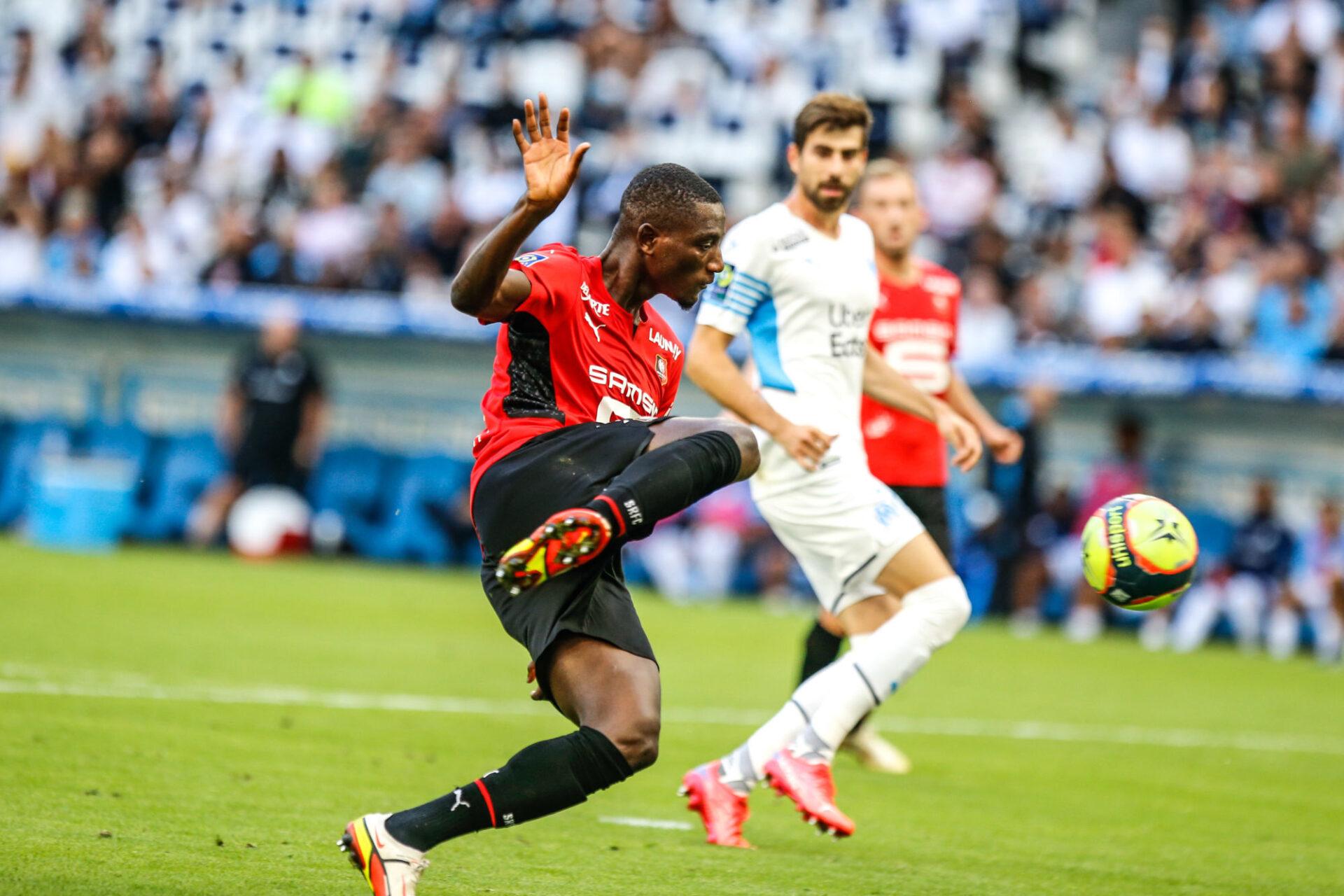 Sehrou Guirassy a manqué l'occasion de créer le hold-up à la 34e minute pour Rennes. Icon Sport